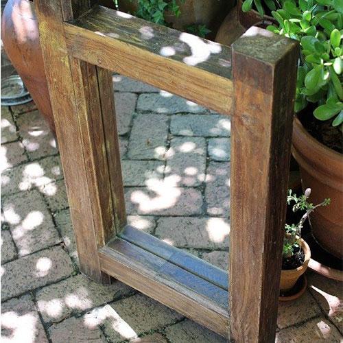 Aged timber garden mirror