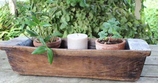 A wooden planter box