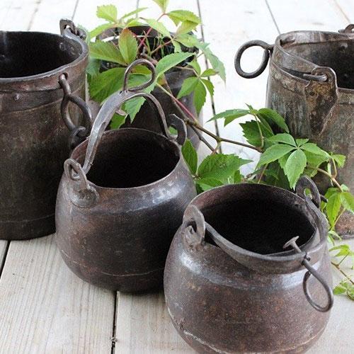 Rustic iron planter pot