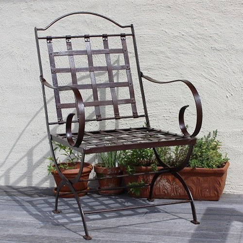 A metal chair on a terrace