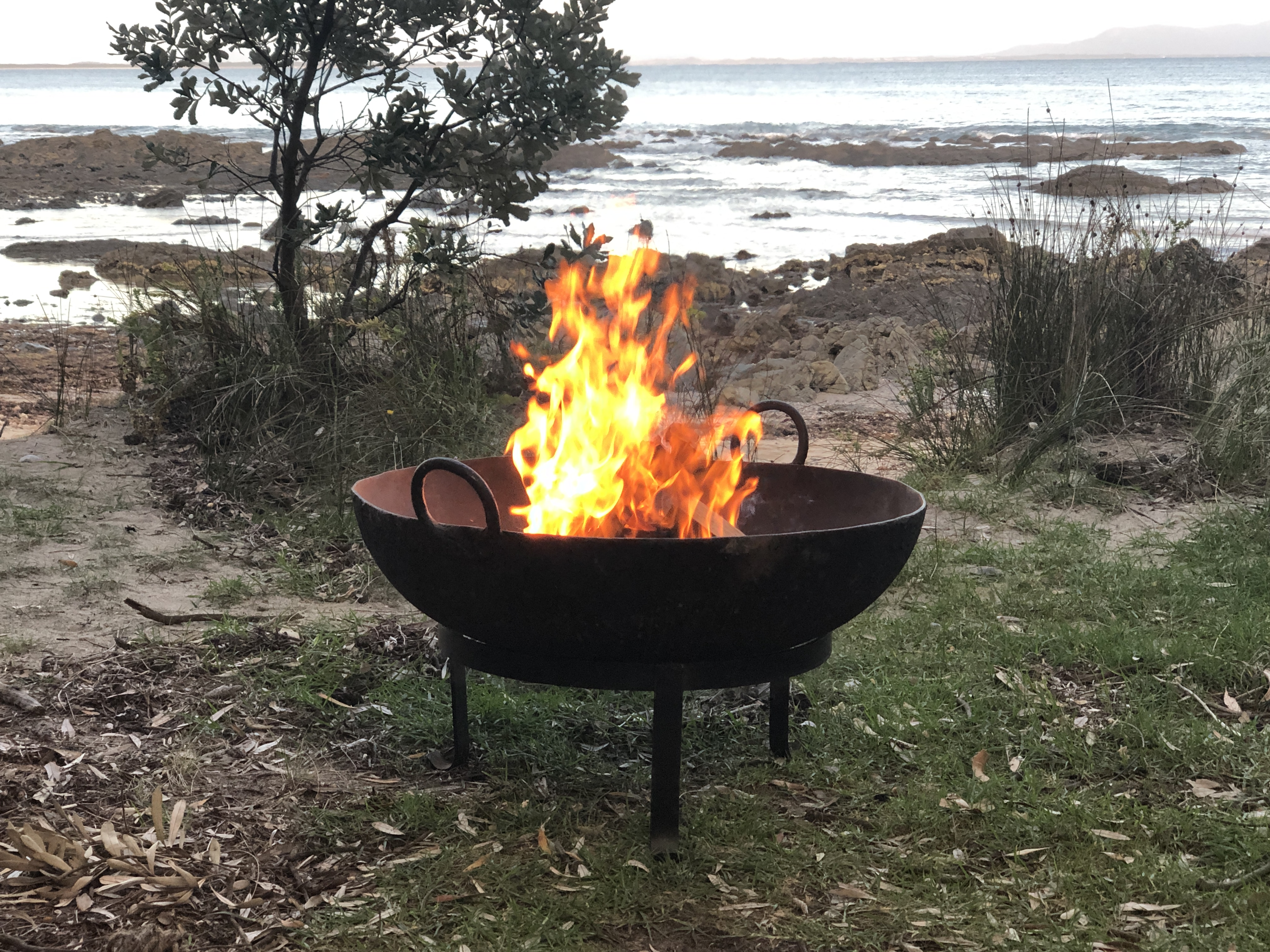 Indian fire pit by the beach