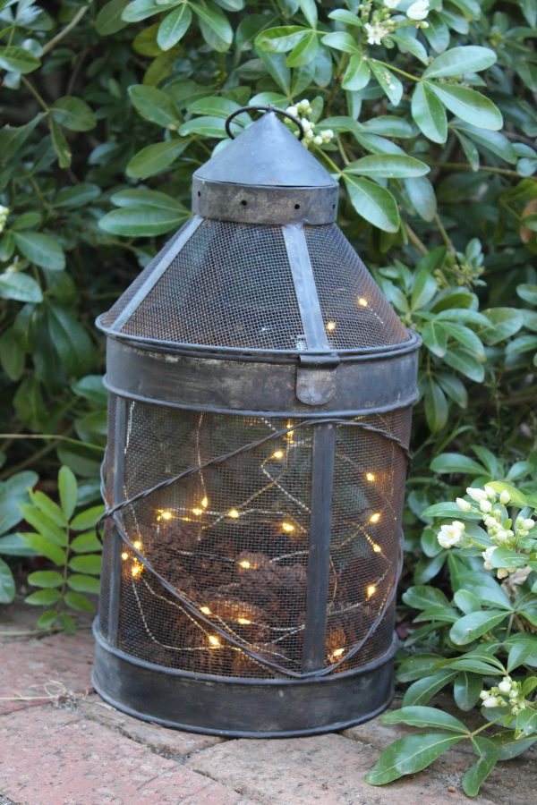lantern with copper wire lights