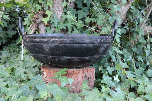 Old Indian iron cooking bowl