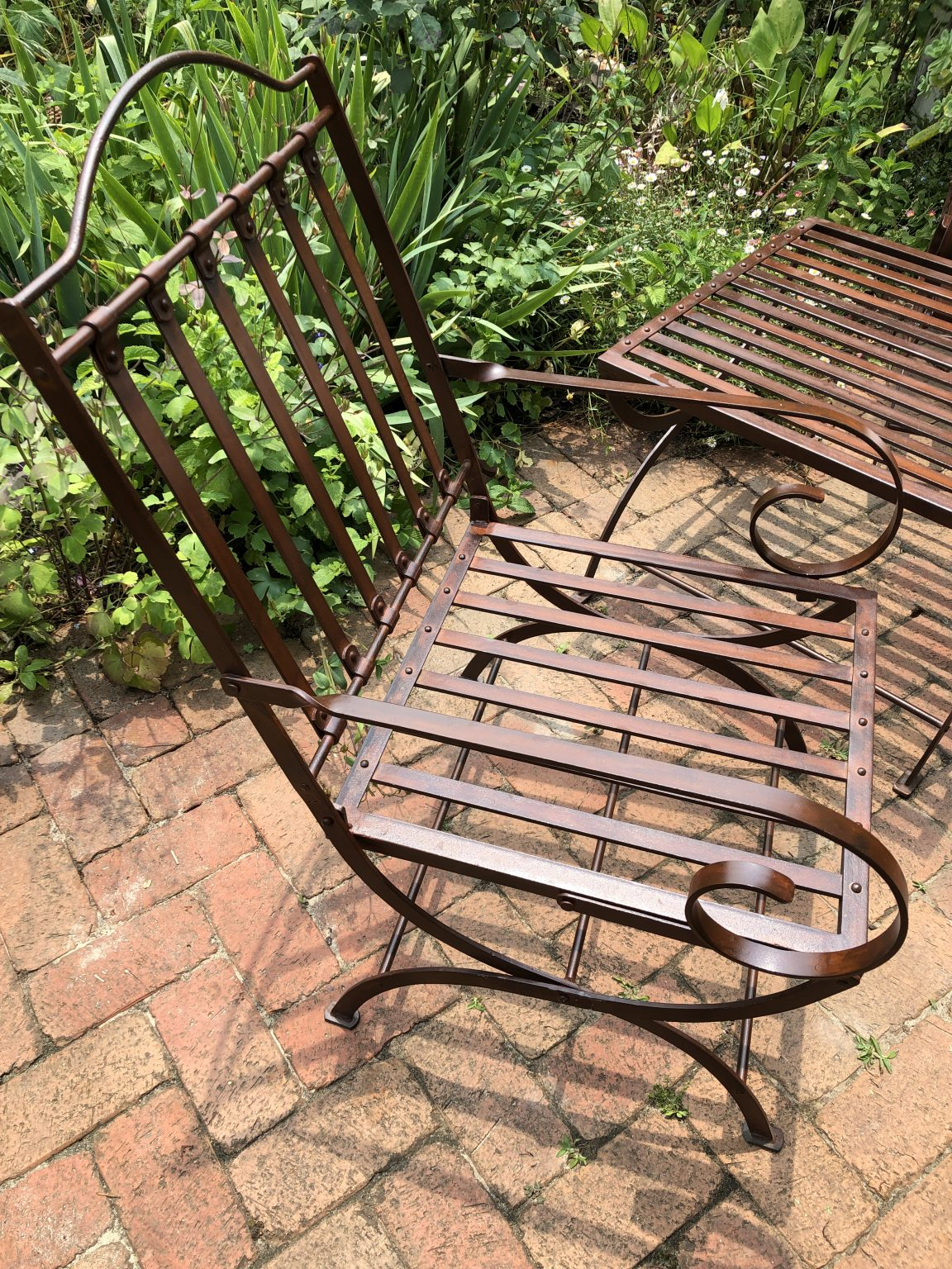 Wrought iron chair on a patio