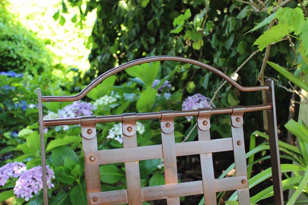 Wrought iron chair & hydrangeas