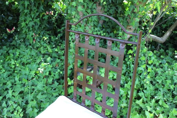 Back of wrought iron chair