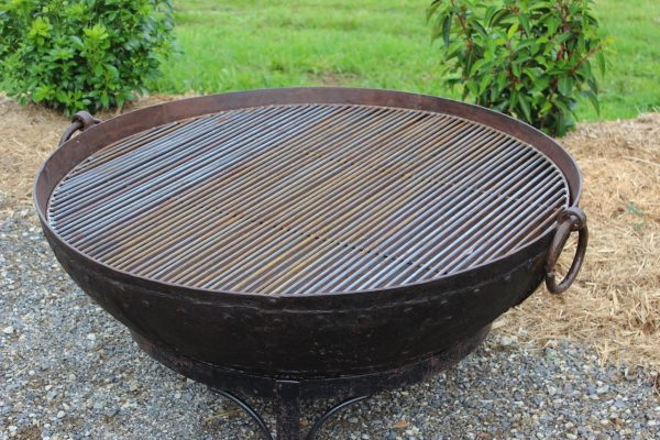 bbq grill on iron fire pit