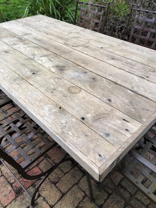 Weathered teak table top