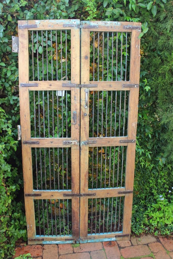 Timber frame gate with iron bars