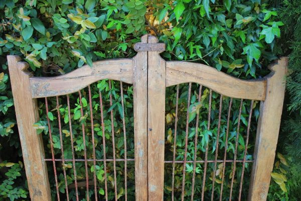 Timber gate with metal latch