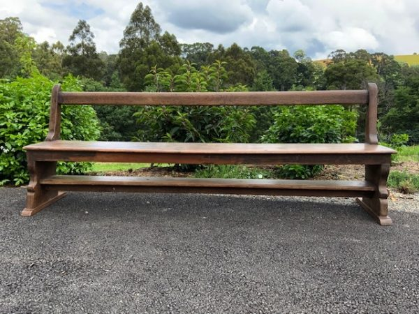 Long wooden bench seat
